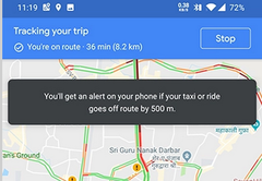 A new Google Maps feature monitors your taxi/ride-share progress. (Source: XDA)