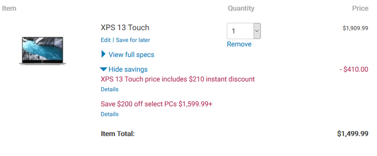 Limited time savings. (Source: Dell)