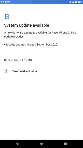 The Razer Phone 2 may have received the September 2020 security patches, but it remains on Android 9.0 Pie. (Image source: r/razerphone)