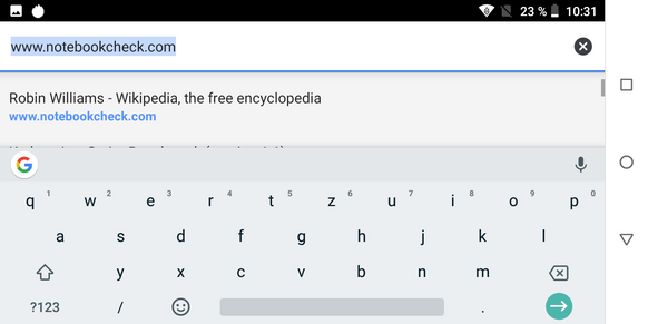 Using the preinstalled keyboard in landscape mode