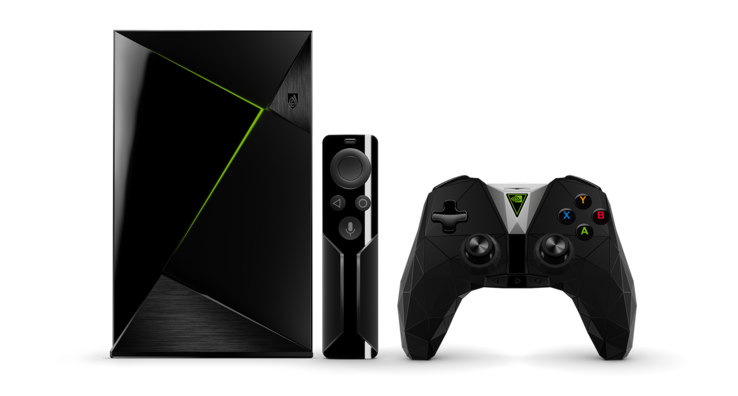 The Shield Pro includes a controller with an added microphone for voice command support. (Source: NVIDIA)