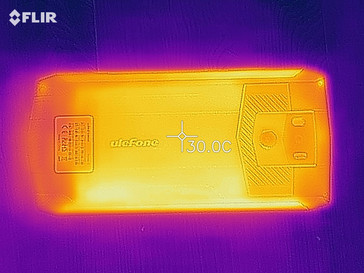 Heat-map of the rear of the device under load