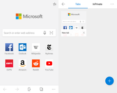 Microsoft Edge beta for Android showing welcome page (left) and tabs page (right). (Source: Own)
