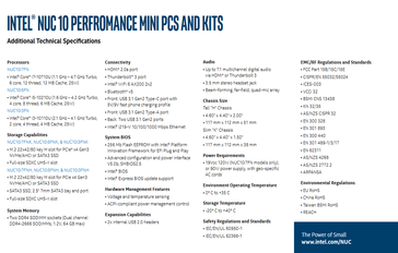 The NUC 10 Performance series' full specs and I/O. (Source: Intel)