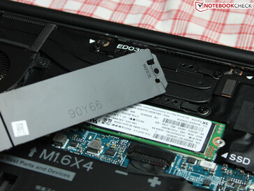 The SSD is covered by a metal plate
