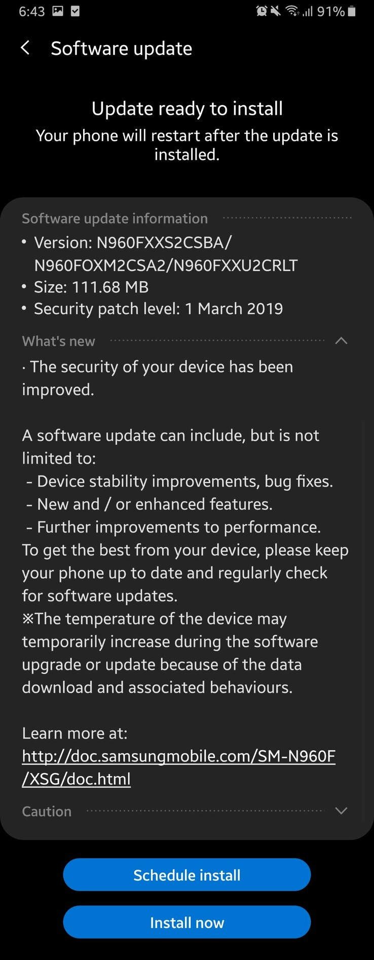 Exynos Note 9 models in the UAE are also receiving the update. (Source: u/gtpower3)