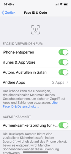 Face ID settings