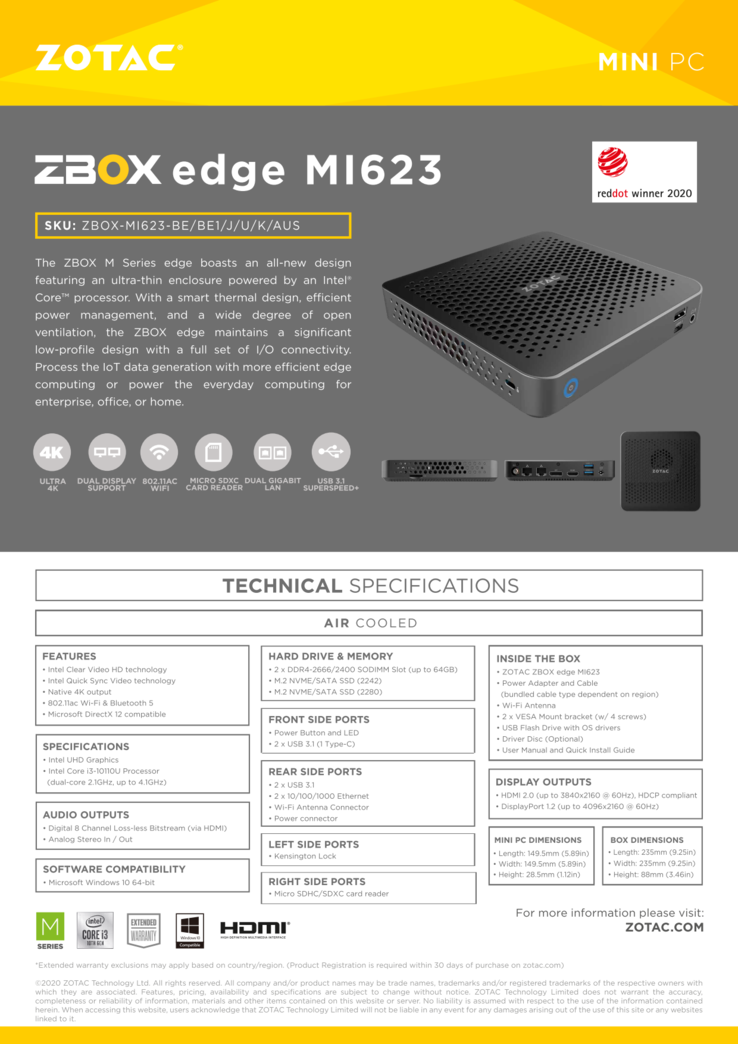 ZBox MI623/643 specifications (Source: Zotac)