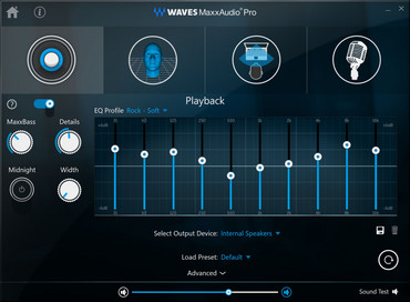 Waves MaxxAudio Pro with configurable equalizer
