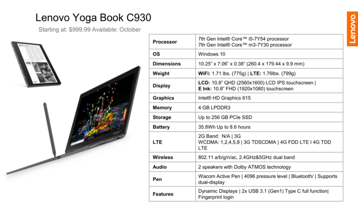 Lenovo Yoga Book C930 (Source: Lenovo)