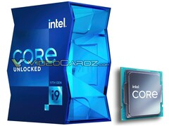 Box for the i9-11900K and new Intel Core logo on chip. (Image source: VideoCardz/PCGamesN - edited)