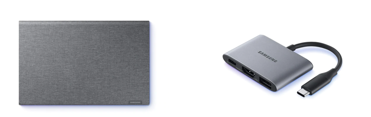 Samsung offers a sleeve and a port replicator.