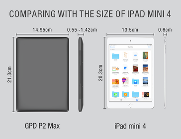 Sizing up the iPad mini 4. (Image source: Indiegogo/GPD)