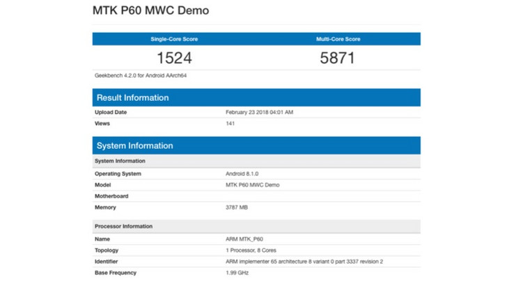 MediaTek Helio P60 spotted on Geekbench. (Source: iGyaan)