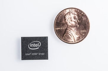 The Intel XMM 8160 is smaller than a penny. (Source: Intel)