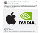 Creatives feel Apple should let existing NVIDIA drivers work on Mojave. (Source: Jason Diamond on Facebook)