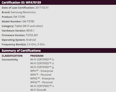 Samsung SM-T378 details on WiFi Alliance, possibly a Tab S3 variant