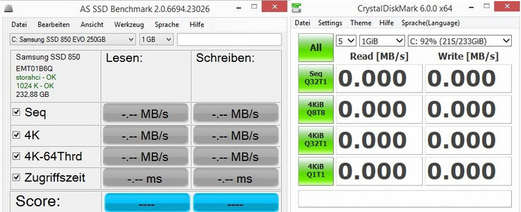 Two popular benchmarks: AS SSD and CrystalDiskMark