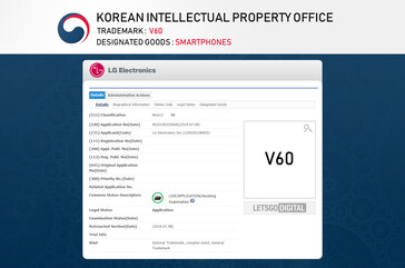 These trademarks may hint at a future with LG V60 and V70 ThinQs in it. (Source: LetsGoDigital)