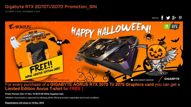The banner advertising the 'free shirt' promotion. (Source: Gigabyte)