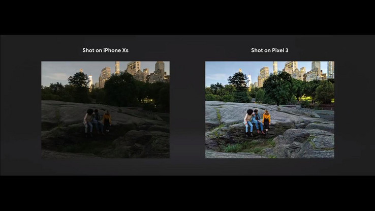 A comparison between Night Sight and the iPhone XS' low-light performance. (Source: Google)