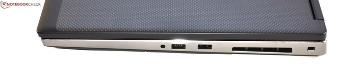 Right-hand side: 3.5 mm jack, 2x USB 3.0 Type-A, Noble lock slot
