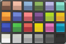 ColorChecker colors. Reference color in the bottom half of each square.