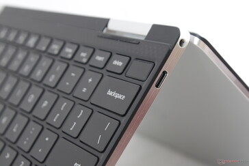 Fingerprint-enabled Power button with the same dark gray carbon composite rests that have defined the XPS series