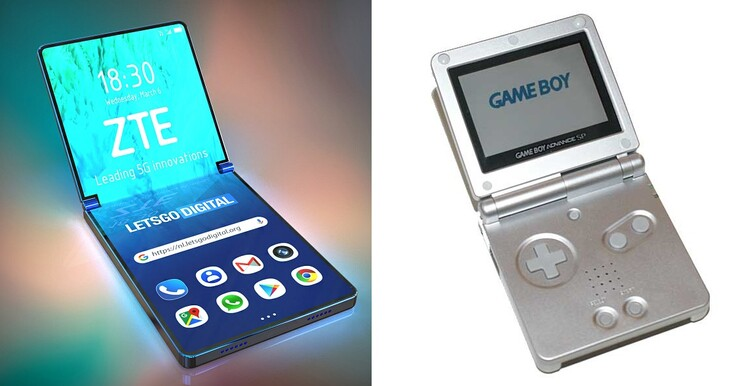 ZTE clamshell and Nintendo Game Boy Advance SP. (Source: LetsGoDigital/Retrocket w/edit)