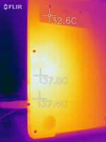 Heatmap of a hotspot on the bottom of the device under sustained load