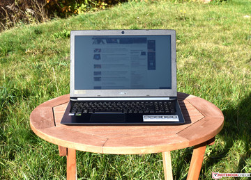 The Acer Aspire 7 A715 in the sun