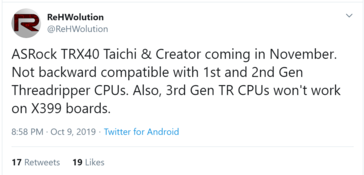New AMD TRX40 boards coming in November. (Source: ReHWolution on Twitter)