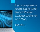 Intel claims Rocket League can't be played on a Mac, even that it can using CrossOver. (Image source: Intel)