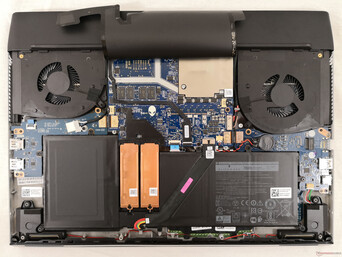 Alienware m17 R2. Bottom panel is secured by 8 screws