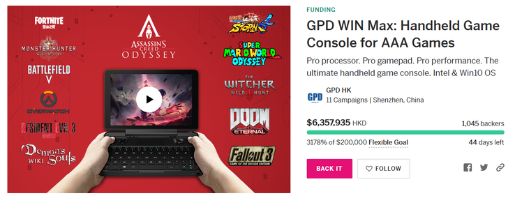 GPD Win Max on Indiegogo. (Image source: Indiegogo)