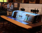 LG shows a potential application for its 77-inch flexible OLED as a smart desk. (Source: LG Display)