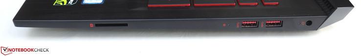 Right side: card reader, 2x USB 3.0, power