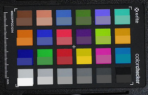 Photograph of ColorChecker colors. The target color is in the bottom half of each box.