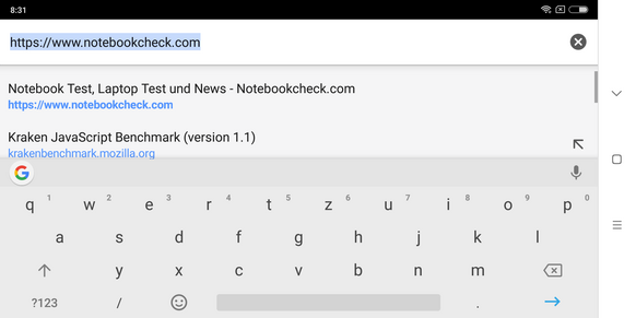 The keyboard in landscape mode