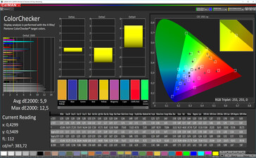 Color accuracy (target color space: P3), color mode: vibrant, standard