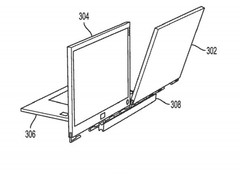 One of the displays can be oriented towards the audience, while the other display faces the user. (Source: USPTO)