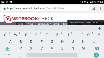 onscreen keyboard in landscape mode
