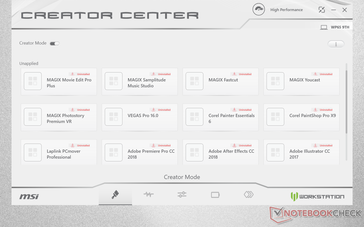 Creator Center software is equivalent to the Dragon Center on MSI G series laptops. Preset optimal settings are available for a number of programs