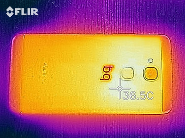 Thermal imaging of the rear of the device under load
