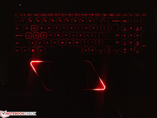 The red arrows are completely aesthetic and are brighter than the keyboard backlight