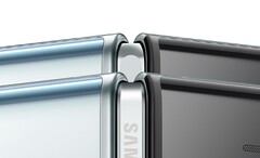 The new redesigned Fold is in the foreground in this image. (Source: Samsung)