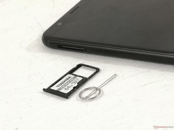 MicroSD slot (up to 256 GB) shared with the secondary nano-SIM slot