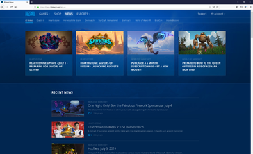 We use the Blizzard Battle.net news homepage for our example of a mostly dark web page