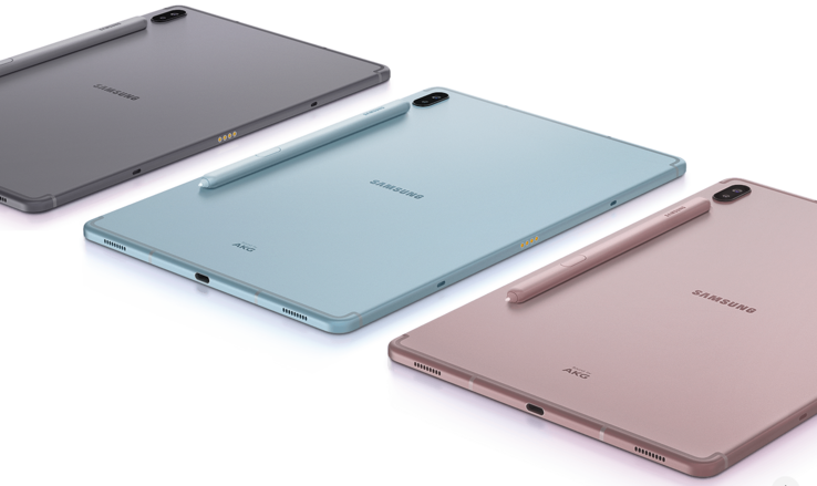 The Galaxy Tab S6 comes in Mountain Grey, Cloud Blue and Rose Blush. (Source: Samsung)