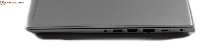 Right-hand side: Headphone jack, USB 3.0 Type-A, HDMI, RJ45 Ethernet, USB 3.1 Gen 1 Type-C, Charging port